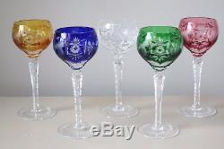 Nachtmann Traube Wine Hock Glasses, Set of (5), Multi Color Cut to Clear