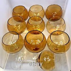 Neiman Marcus Large Amber Colored Etched Wine Glasses Set of 10 Handmade 8.75
