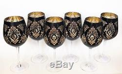 New Set Of 6 Black+gold+clear, Vintage Style All Purpose Wine, Goblet Glass