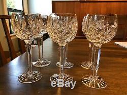 New Vintage Waterford Crystal Lismore 6oz Wine Hock Glasses 7 3/8High -Set of 6