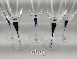 Orrefors INTERMEZZO Blue SET of 5 white Wine Glasses 22,5 cm (Q0090)