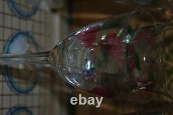Orrefors MAJA Hand Painted Wine 6 1/8 & 7 1/8 Eva Englund + Caraf set of 15