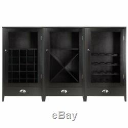 Pemberly Row 3 Piece Modular Wine Rack Cabinet Set in Espresso