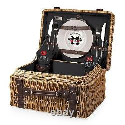 Picnic Time Mickey & Minnie Mouse Champion Picnic Basket + 3pc Cheeseboard Set
