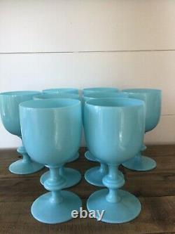 Portieux Vallerysthal PV France Blue Opaline Milk Glass goblets set of 8