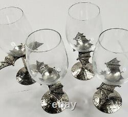 Pottery Barn Halloween Set of 5 Bat Wine Glasses Retired