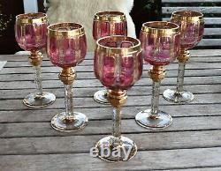 Pp Antique Set 6 Bohemian Cranberry Engraved Gold Gilt Glass Wine Goblets