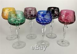 RARE Set 6 AJKA Rainbow Colors Cut to Clear Bohemian Crystal Wine Hock Goblets