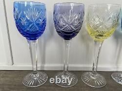 RARE Set 6 Webb Corbett Prince Regent Multi Color Crystal Wine Hocks MINT