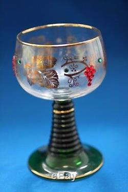 ROEMER BOCKLING GREEN STEM GILT TRIM WINE GLASSES & PITCHER SET WithCRYSTALS c1950