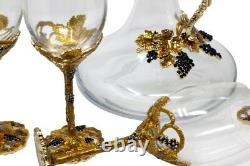 RORO Enameled and Jeweled Bohemian Crystal Wine Goblets Glasses Set with Jug