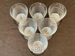 R Rene Lalique Nippon Claret Wine Glasses Set of 6 5241 France Crystal 4 1/8 H