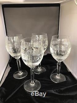 Ralph Lauren Glen Plaid Crystal Red Wine Water Goblet Glasses Set of 4 8 3/4