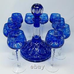 Rare Ajka Marsala Crystal Decanter Wine Glasses Set Cobalt Blue Bohemian Czech
