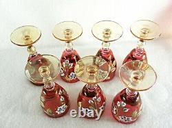 Rare Antique Bohemian MOSER Cranberry Crystal Set 7 x Wine Goblets & Decanter