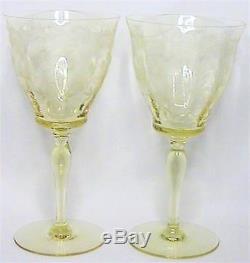 Rare Pair Set 2 Tiffin Glass Franciscan Rosalind Etch Mandarin Water Wine Goblet