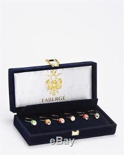 Rare Vintage Set Of Six Wine Glass Ring Charm Faberge Egg With Enamel & Crystal