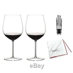 Riedel Sommeliers Burgundy Grand Cru Wine Glass, Set of 2 and Stopper Bundle