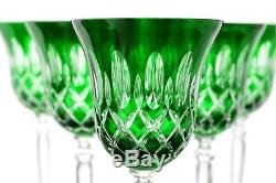 Roman Lead Glass Wine Lens 6er Set (421car) Green Hand Cut Crystal