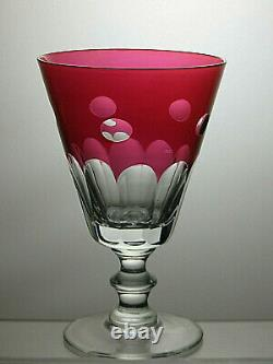 Ruby Red Cut To Clear Claret Wine Glasses/water Goblets Set Of 4 6 Tall