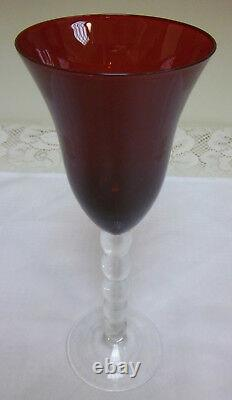Ruby Red Flared Bowl Water Wine Goblet Stacked Ball Stem Blown Art Glass Set 8
