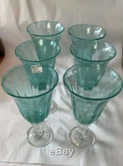 SABA Biot France Handblown Water/Wine Glasses Set Of 6 Turquoise