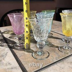 SABA Biot Small Wine / Aperitif /Dessert Wine Glasses Handblown France Set of 7