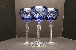 SET 3 COBALT BLUE CUT TO CLEAR CRYSTAL WINE HOCKS GlASSES GOBLET STEMS GODINGER