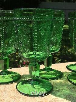 SET 5 EAPG Antique 1899 US GLASS Goblets GREEN Stemware BEADED Grape VICTORIAN