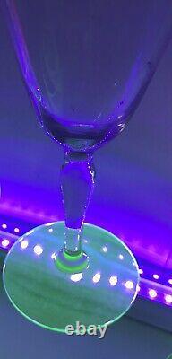SET 9 Art Deco Green Vaseline Uranium Needle Etched Stem Wine Glasses 6 7/8