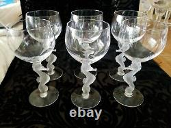 SET OF 6 Bayel Crystal Frosted Seahorse Liquor Cocktail Glasses France 6 3/8 H