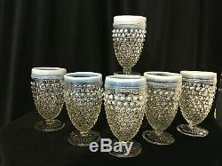SET of 12 Moonstone Opalescent Clear Glass Hobnail WATER/WINE GOBLETS 5.25