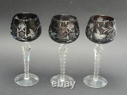 SET of 3 ANTIQUE NACHTMANN TRAUBE BOHEMIAN HAND CUT RUBY WINE GLASS FACETED STEM