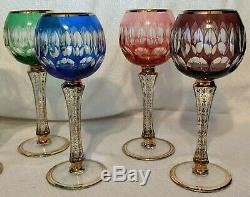 SET of 6 Bohemian MULTI COLOR Cut to Clear CRYSTAL Wine Goblets HOCKS with Gold