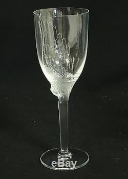 SET of 6 LALIQUE CRYSTAL ANGEL WING ANGE CHAMPAGNE WINE FLUTE GLASS 8