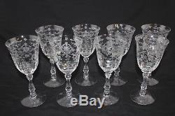 SET of 8 Fostoria Navarre Etch 7 5/8 Water Wine Stem Glasses