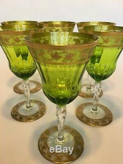 ST. LOUIS set 6 or 12 WINE GOBLETS in CALLOT Pattern. 24k gold Thistle Variant