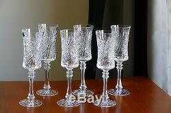 SWEDISH pattern, Tall, 24% Lead CRYSTAL wine glasses/ GOBLETS, Set of 6, Russia
