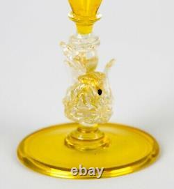 Salviati Murano Canary Yellow Dolphin Stem Wine Goblet Glasses Set 3 Art Glass