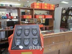 Salviati Nove Porto Glasses NEW in Box Set of 6 Segno Pattern Venezia Italy