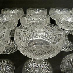 Set (12) Finest Quality Brilliant Period American Cut Glass Stem Champagne Wine
