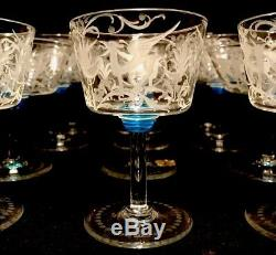 Set 12 Salviati Murano Glass Hand Etched Champagne Coupe / Wine Goblet Vintage