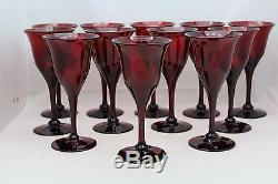Set 12 Steuben Red Selenium Red Wines