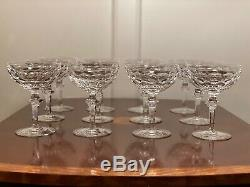Set 12 True Vintage WATERFORD CRYSTAL Curraghmore Champagne Wine Sherbet Glasses