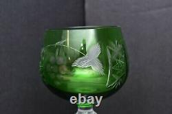 Set 2 Bohemian Czech Cut To Clear Crystal Wine Hocks Goblet Glasses Green Pair