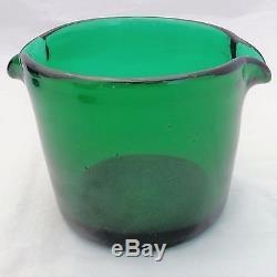 Set 3 Antique Georgian Green Glass Bucket Shaped Twin Lipped Wine Glass Rinsers
