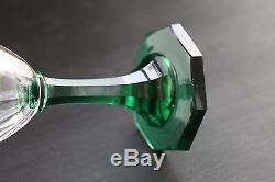 Set 3 Fine Blown Cut Wine Glasses Green Stems Ground Pontil Scandinavian Kosta