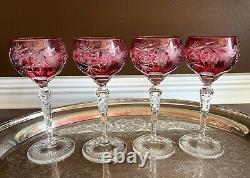 Set 4 Nachtmann Traube 6 7/8 Cranberry Glass Cut Crystal Hock Wine Goblets /12a