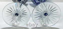 Set 4 Val St. Lambert Red Green Blue Burgundy Cut To Clear Crystal Wine Glasses