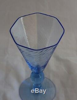 Set 4 Venetian Murano Italian Glass Salviati Blue Water Wine Goblets Octagonal